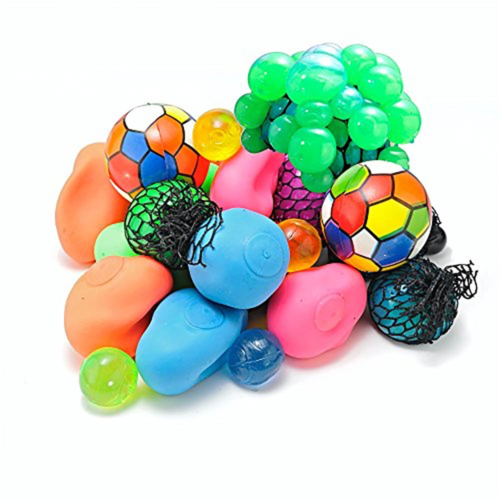 Bottles N Bags 12 Pack + FREE Bonus! Assorted Hand Exercise Squeeze Balls for Adult Stress and Anxiety Relief