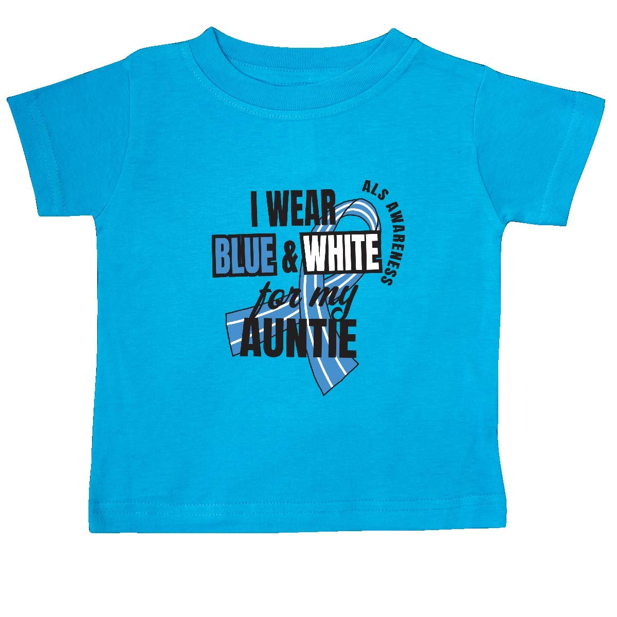 inktastic I Wear Blue and White for My Auntie ALS Awareness Baby T-Shirt