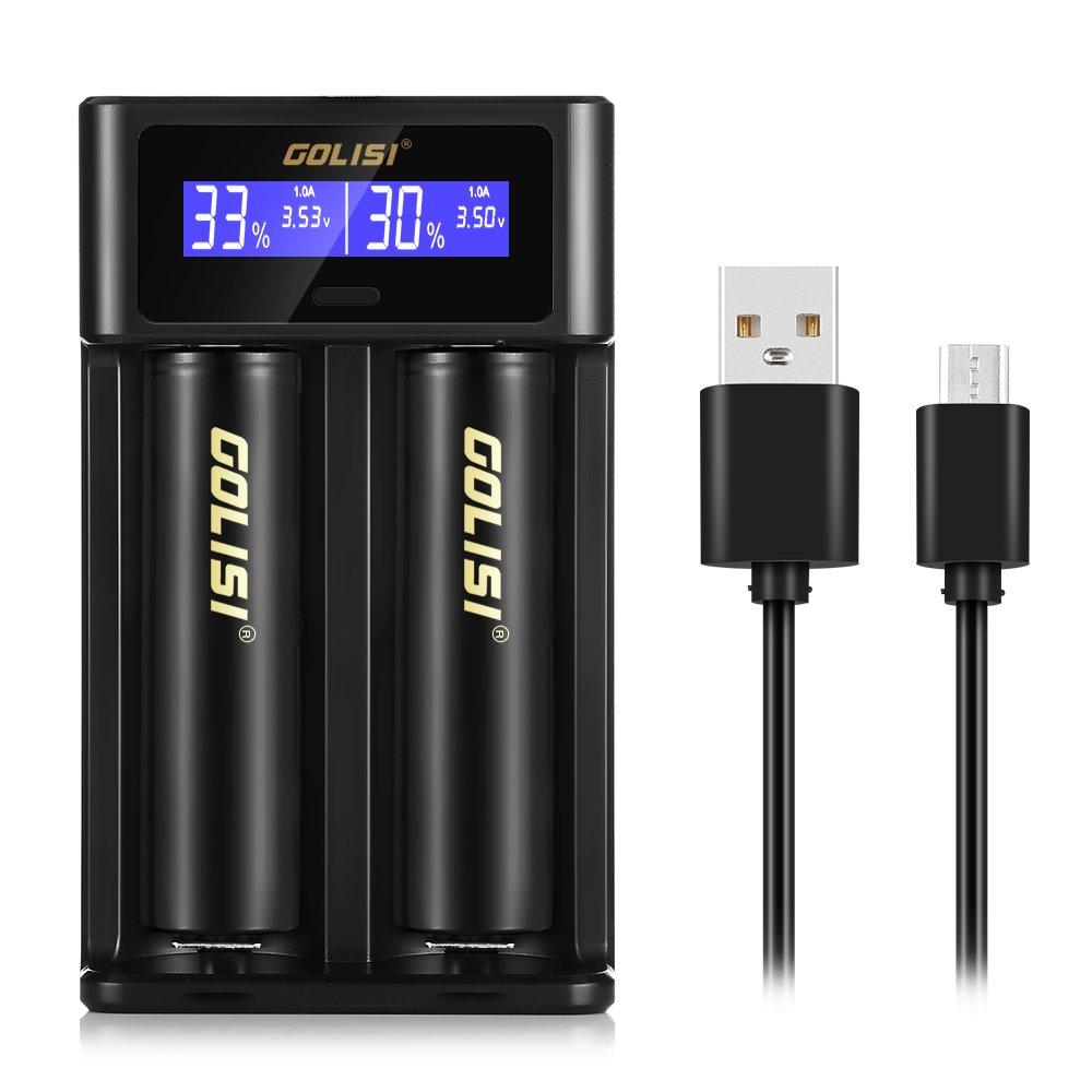 Cargador de Pilas i2 InLife con 2 Ranuras Pantalla LCD Cable de USB Carga rápido para Li-Ion Ni-MH Ni-CD Ni-MD 26650 18650 20700 21700 AAAA AAA AA A SC C ...