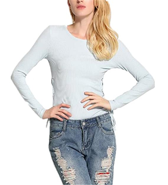 AILIENT Sencillos Mujeres Camisetas De Manga Larga Cuello Redondo Elegantes T Shirt Outwear Blusas Camisas Tops