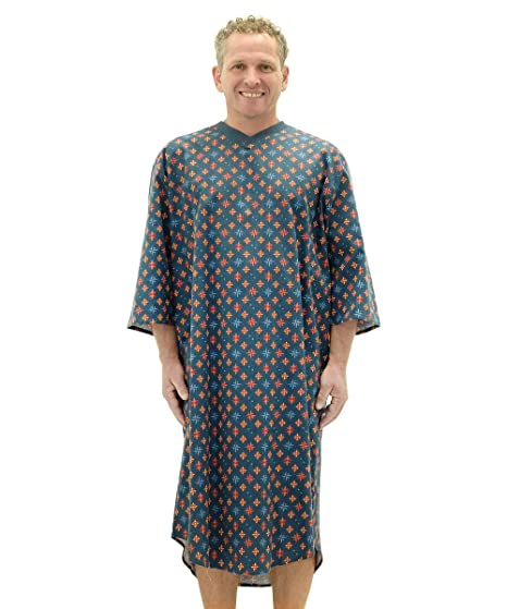 Silvert s Mens Flannel Open Back Adaptive Hospital Patient Gowns - -  Nautical SMA 04644ec28