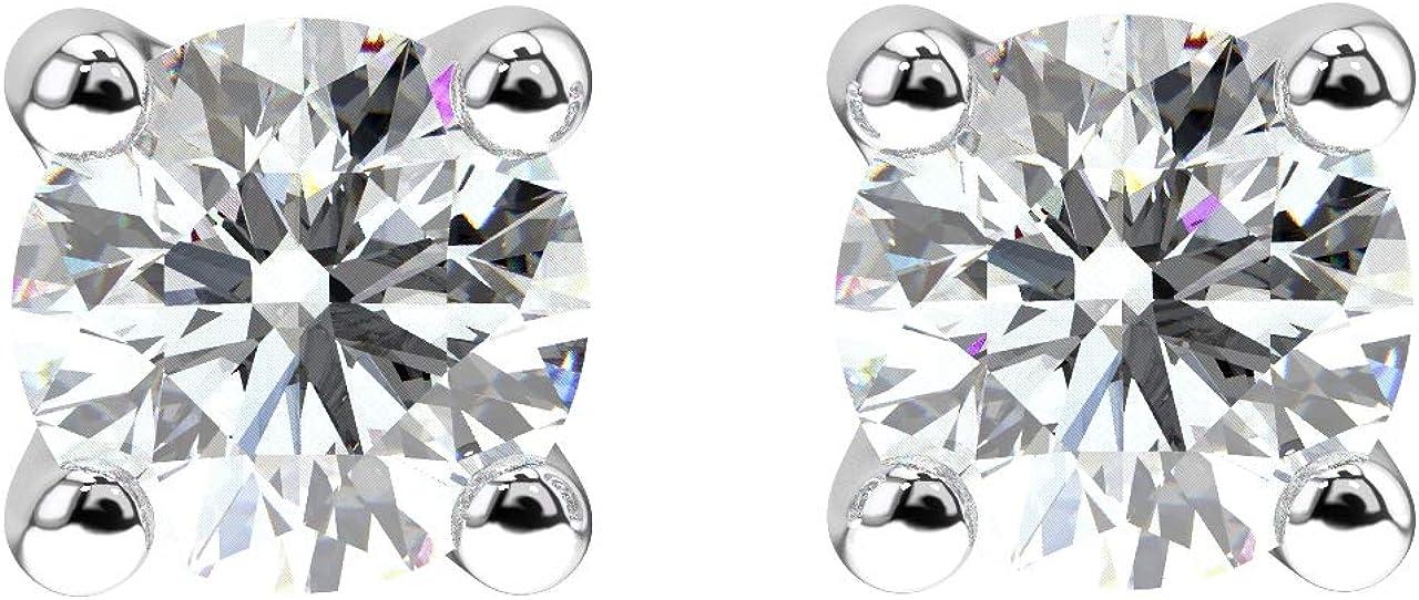 Aretes solitarios de diamante redondo de 0,50 quilates de talla brillante en oro blanco de 18 quilates.