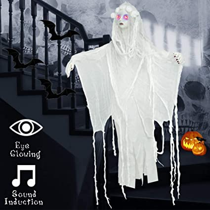 Superjare 35 Inch Halloween Hanging Creepy Shrilling Ghost Halloween Indoor Outdoor Decorations Scary Witch Decorations With Sound Induction And