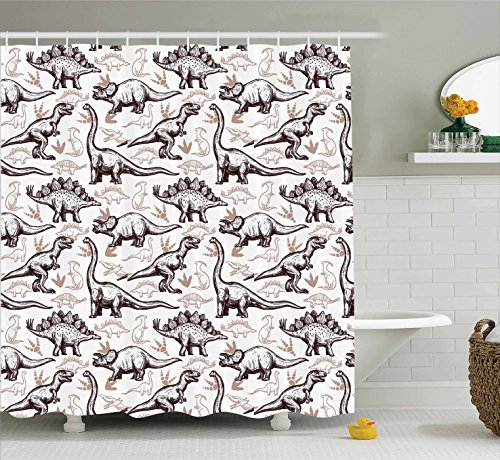 Ambesonne Dinosaur Shower Curtain Set, Home Decor Reptiles with Footprints Doodle Style Art Ancient Animals Abstract Illustration, Fabric Bathroom Accessories with Hooks, Brown (Dinosaurs Ancient Art)