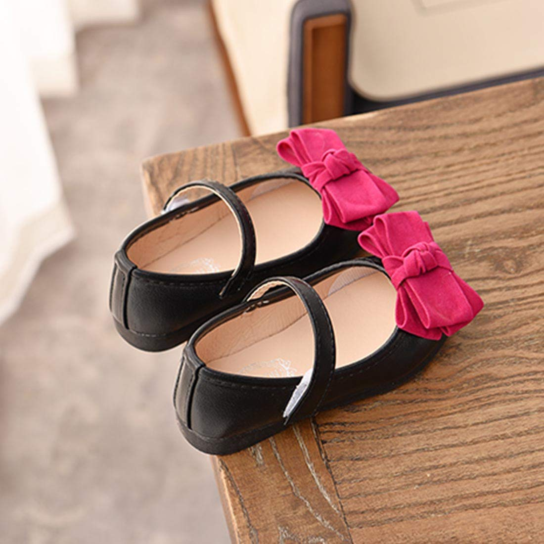 JTENGYAO Girls Ballet Bows Flat Shoes Flat Wedding Party Mary Janes Pink Shoes