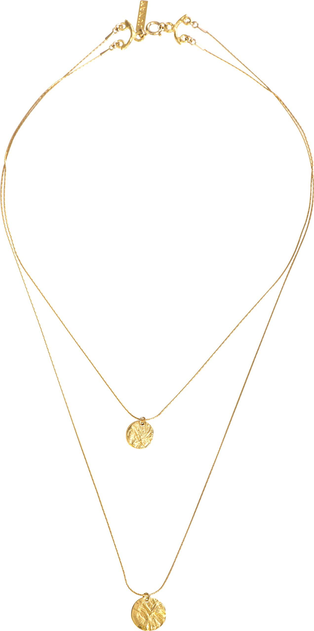 JUNAM Women's 18k Gold Plated Double Necklace Elegant Bridal Jewelry - 100% Handmade