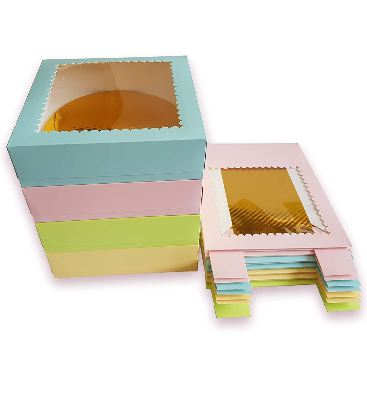 CooKeezz Couture - Cake Box - Colored Window Bakery Packaging Decorated Boxes Great for Donuts , Bakery , Pies ,Cakes - Assorted 12 Pack Boxes in 4 Pastel Colors,Included 12 Round Cake Boards (10x10x2.5)