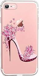Girlscases® | iPhone 8/7 Hülle | Im Blumen-Highheels Motiv Muster | in rosa bunt | Fashion Case transparente Schutzhülle aus Silikon