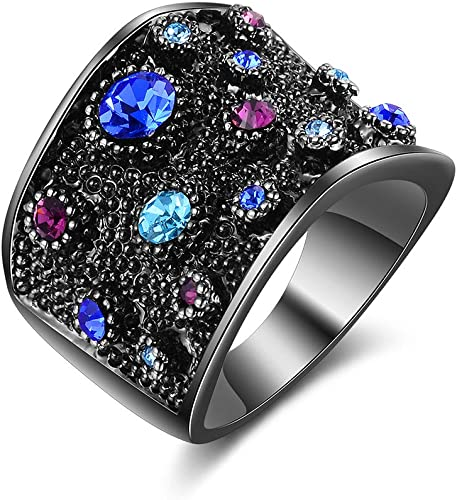 Cocktail Ring Large Wide Cluster Pave Rhinestone Stretch Band Crystal Black