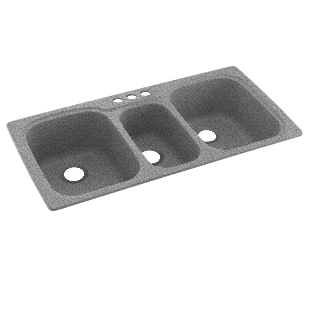 Swanstone KS04422TB.042-3 3-Hole Solid Surface Kitchen Sink, 44'' x 22'', Gray Granite by Swanstone