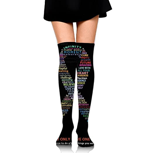 a59bab0fc8c Amazon.com  Knee High Socks Pink Ribbon - Breast Cancer Awareness Women s  Work Athletic Over Thigh High Long Stockings  Clothing