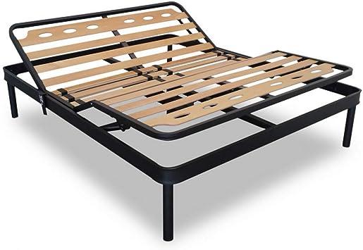 Evergreen 08001900- Somier de metal con 14 listones de madera, de alto 35 cm - 80 x 190 | De más tecna