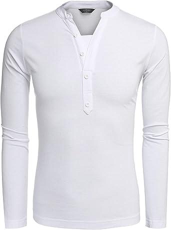 Camisa con Cuello En V para Chic Ropa Hombre Camisas con Cuello En V Primavera Tops con Manga Larga En Color Sólido Elegante: Amazon.es: Ropa y accesorios