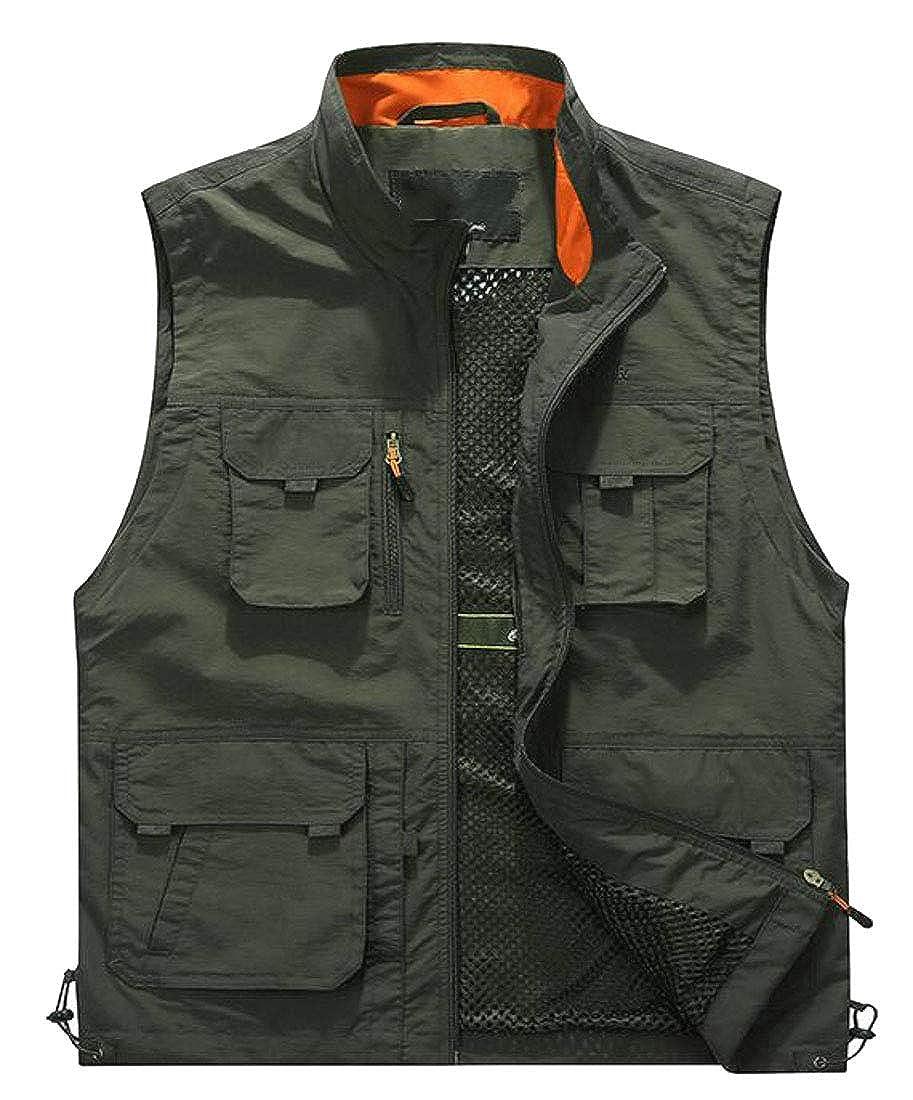 XiaoTianXinMen XTX Mens Outdoor Waistcoat Journalist Multi Pockets Stand Collar Vest