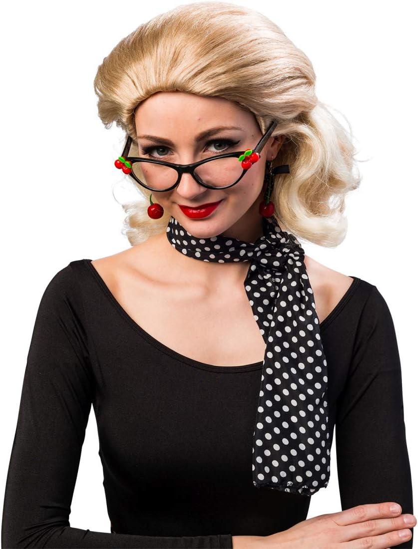 Set de accesorios estilo rockabilly con lentes, aretes y pañoleta ...