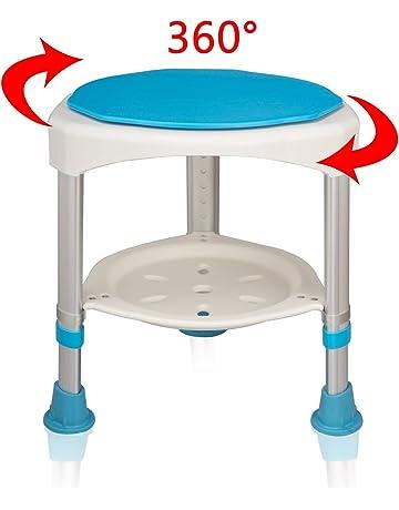 HENGMEI 360° Taburete de baño giratorio Silla de ducha Taburete Ajustable Taburete de Ducha Antideslizante