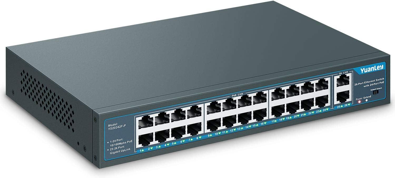 YuanLey 26 Port PoE Switch, 24 PoE+ Port 100Mbps, 2 Uplink Gigabit ...