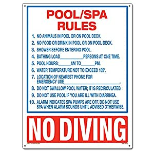Poolmaster 40321 Pool Spa Rules Sign For Commercial Pools Florida Compliant Patio