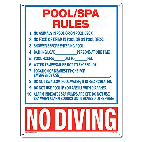 Poolmaster Sign for Residential or Commercial Swimming Pools and Spas, Pool/Spa Rules
