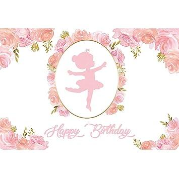 Leyiyi 8x6.5ft Pink Abstract Little Girl Ballerina in Tutu Dress Dancing Backdrop Pink Flower Happy Birthday Background Baby Shower Decoration Vinyl Photo Studio Props