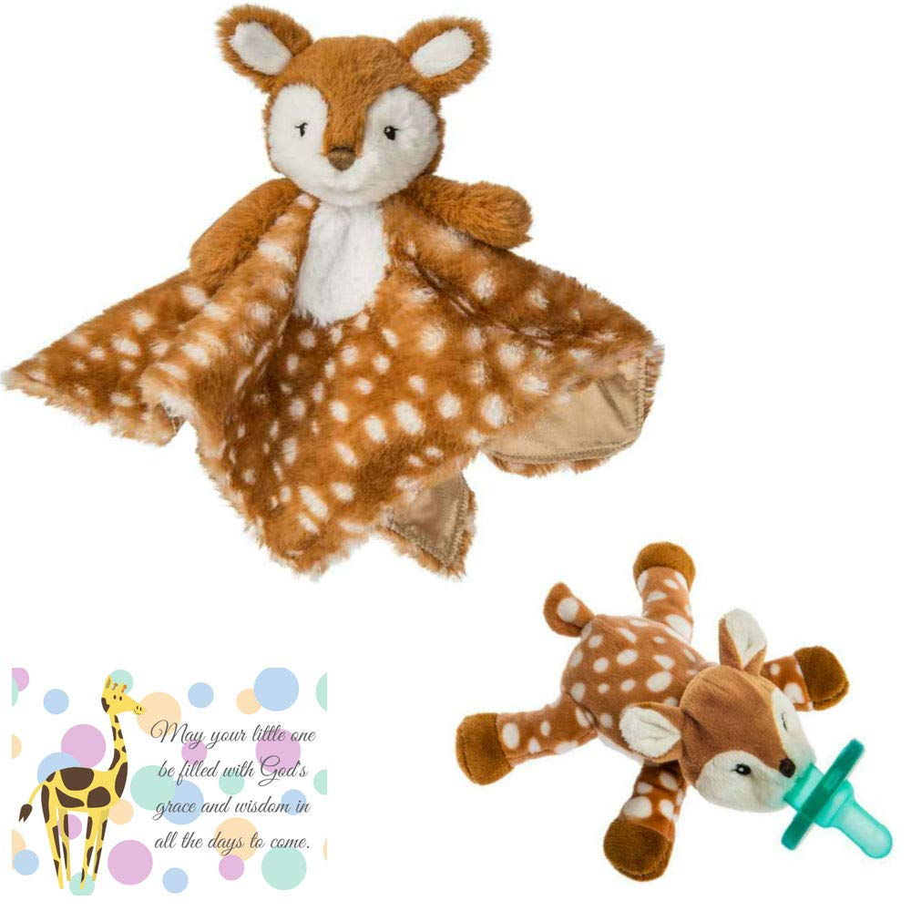 Woodland Baby Nursery Mary Meyer Wubbanub and Matching Character Blanket Lovey with Mini Gift Card-Bundle of 3 Items (Fawn) by Bigdream