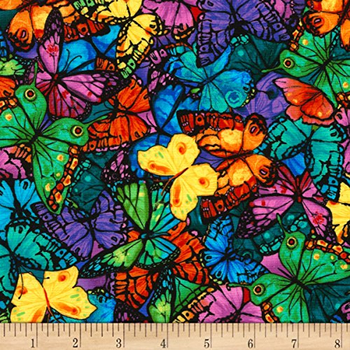 Timeless Treasures 0561312 Pavilion Packed Butterflies Bright Fabric by The Yard
