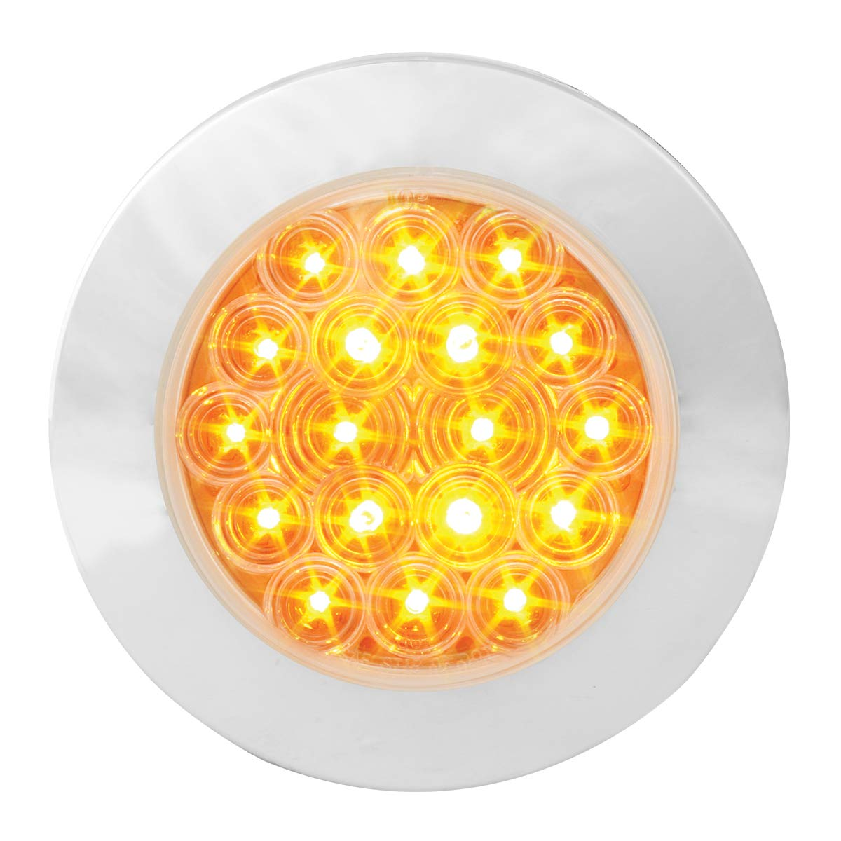 GG Grand General 75881 LED Light (4'' Fleet Amber/Clear 18 Flange Mount with Bezel, 3 Wires)
