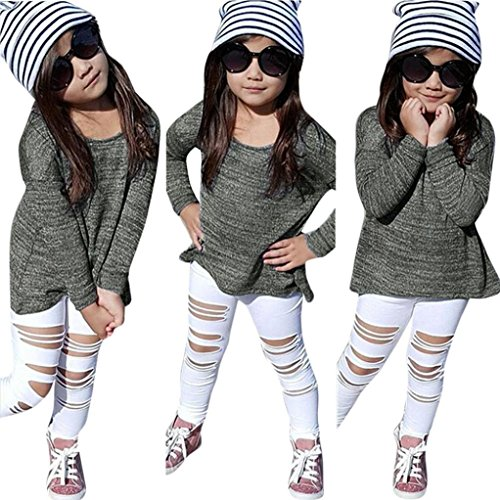 [Lonsbo Kids Baby Girls Outfit Clothes Long Sleeve T-shirt Tops+Long Pants (5/6T)] (Top 2016 Toddler Halloween Costumes)