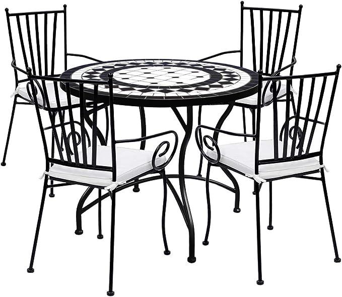 Desconocido Set de 4 Sillas de forja con reposabrazos y Mesa Circular Ceramica 90 cm Diámetro: Amazon.es: Jardín