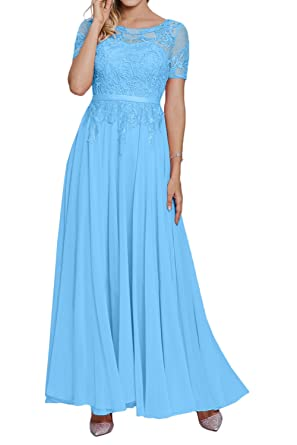 DressyMe Womens A-Line Maxi Prom Dresses Lace Short Sleeves Round-Neck Chiffon-