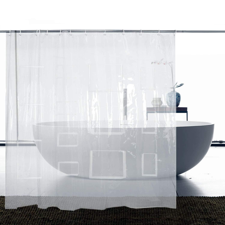 "Dricar Transparent Shower Curtain, Clear Shower Curtain Liner, Waterproof Shower Curtain Liner with 12 Touch Pockets for iPad Phone, EVA Shower Curtain for Bathroom (71"" x 71"")"