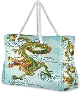 Hunihuni - Bolsa de playa, diseño de dragón chino, con asas de cuerda de algodón, cremallera superior, dos bolsillos exteriores: Amazon.es: Equipaje
