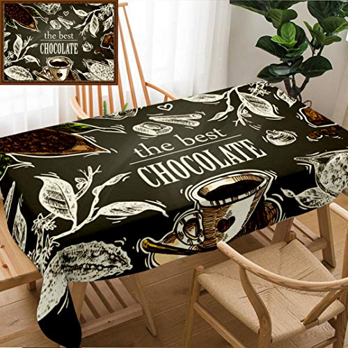 Skocici Unique Custom Design Cotton and Linen Blend Tablecloth Hand Drawn Sketch Illustration Chocolate Us for Postcard Card Invitations and MenuTablecovers for Rectangle Tables, 78