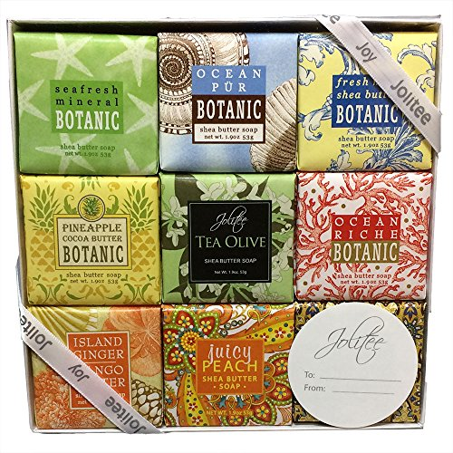 French Milled Botanical Soap Sampler Set in Nine Fabulous Scents, Individually Wrapped Vegetable Based Mini Soaps with Essential Oils, Shea Butter and Natural Extracts (Tropical Beachy) ()