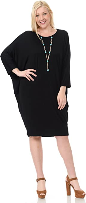 Women's Side Draped Dolman Sleeves Plus Dress