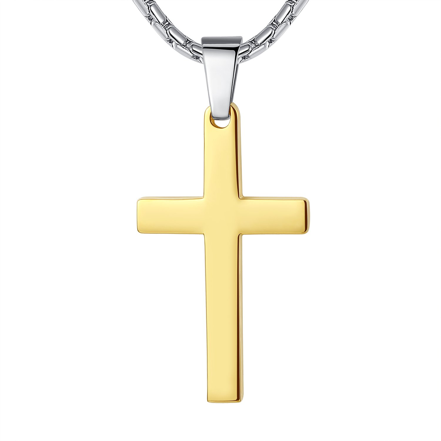 Aoiy Stainless Steel Cross Religious Pendant Necklace, Unisex, 21