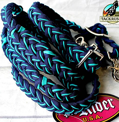 - PRORIDER Horse Western Tack Nylon Braided Roping Knotted Barrel Reins Navy 607319