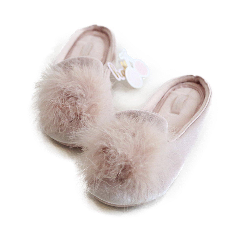 HALLUCI Women's Cozy Velvet Memory Foam House Slippers w/Non Slip Soles (7-8 B(M) US, Pink)