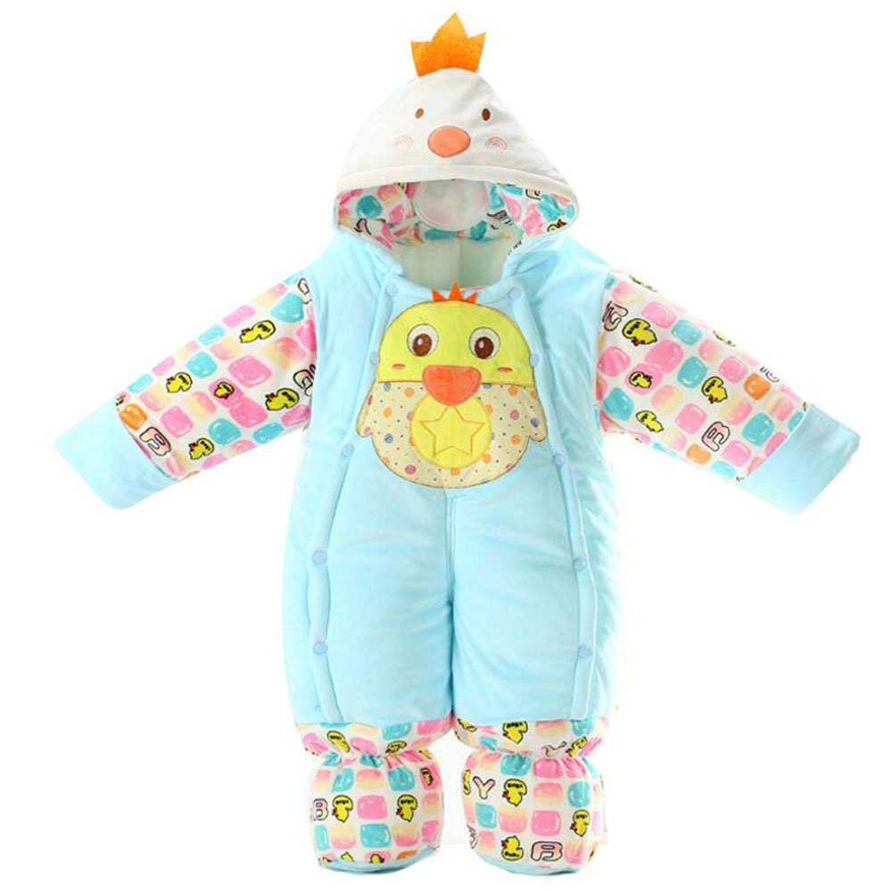35fe5ad27 Baby Girls & Boys Cotton Hooded Romper Newborn Warm Body Suit Autumn/Winter  Infant Jumpsuits Outfit Blue Chick/3-9M: Amazon.co.uk: Baby