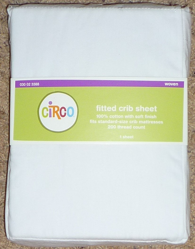 Circo Solid Woven Fitted Crib Sheet White Cotton 28X52 Inches by Target   B017L6J2NG