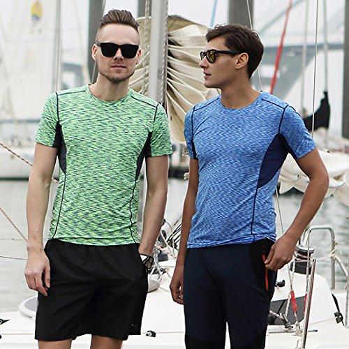 BeFur Camiseta unisex de cuello redondo de manga corta de secado rápido permeable al sudor y delgada azul(H)y verde claro(M)