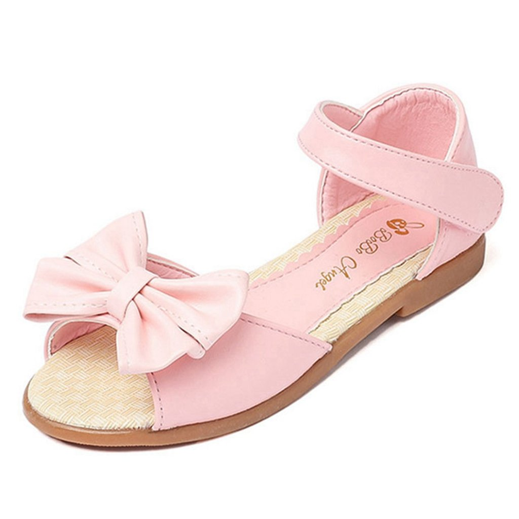 Girls Summer Bowknot Open Toe Flat Sandals Soft Sole Outdoor Beach Non-Slip Princess Casual Shoes
