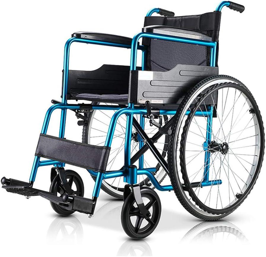 BJYG Silla de Ruedas de Transporte, Silla portátil Plegable Manual con Pedal de Freno de Mano Asiento de reposabrazos cómodo, Movilidad Empuje de Alta Resistencia Accionamiento de aleación de ALU