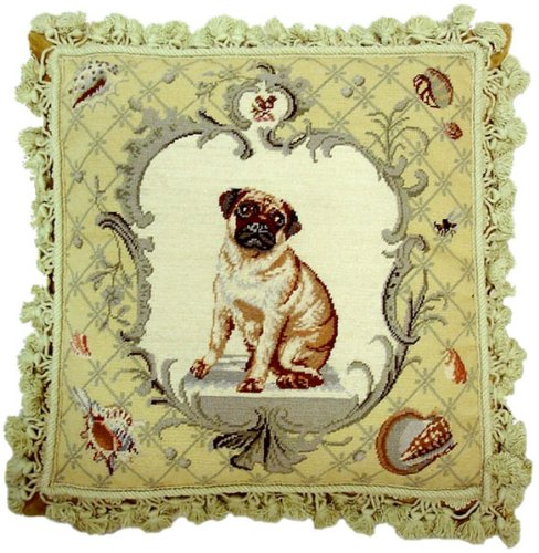 Deluxe Pillows Shells and Dog - 18 x 18 in. needlepoint pillow (Needlepoint Pillow Shell)