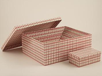 Set 10 cajas de almacenaje de cartón a cuadros blancos y rosa Disraeli: Amazon.es: Hogar