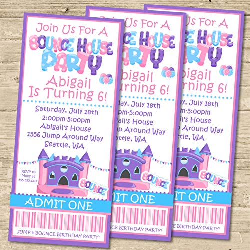 Bounce House Birthday Party Ticket Invitations, Bounce House Party Invitations