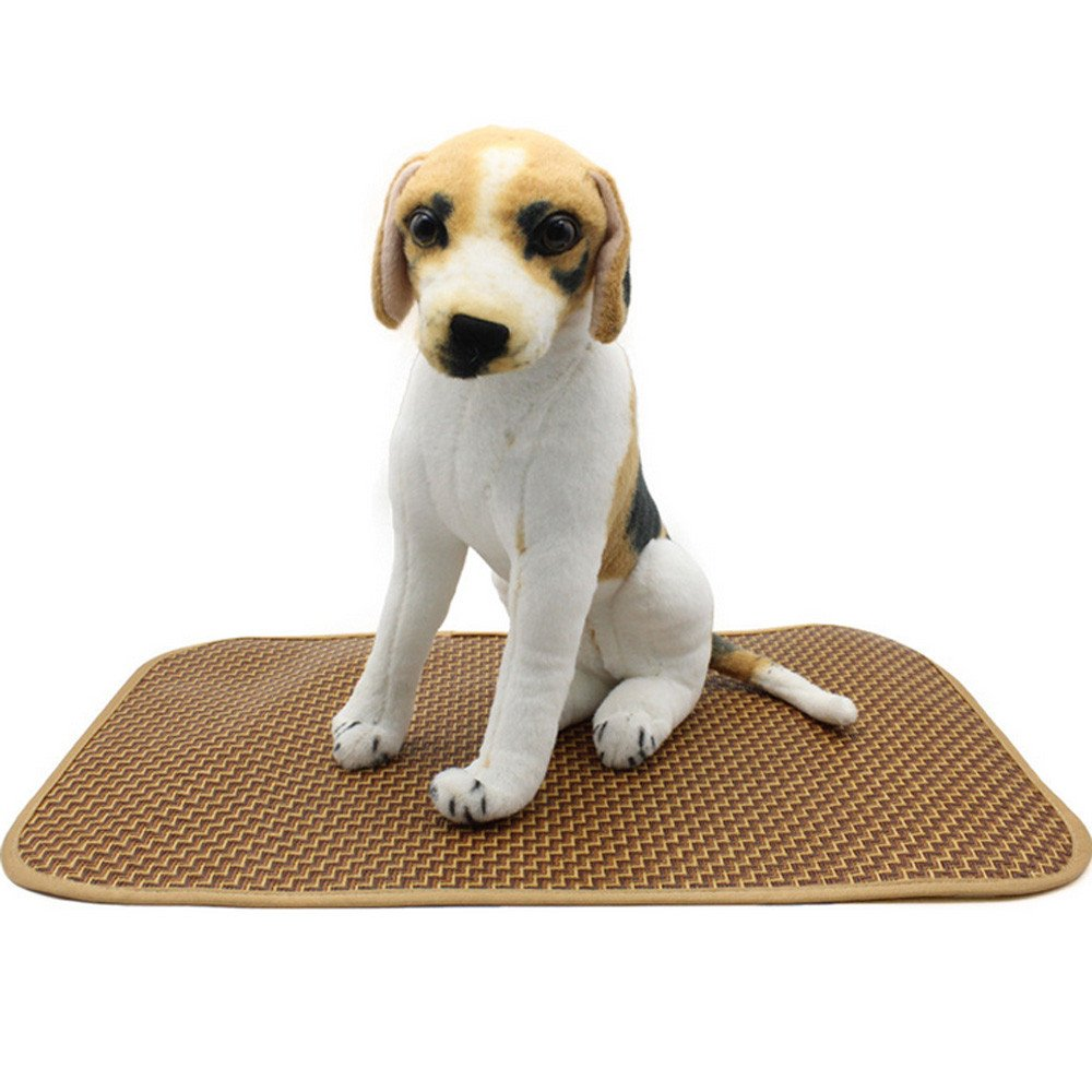FTXJ Pet Mat, Pet Dog Cat Cushion Sleeping Mat Pad Summer Cooling Blanket for Small Medium Large Dog (Brown, L(59.539CM))