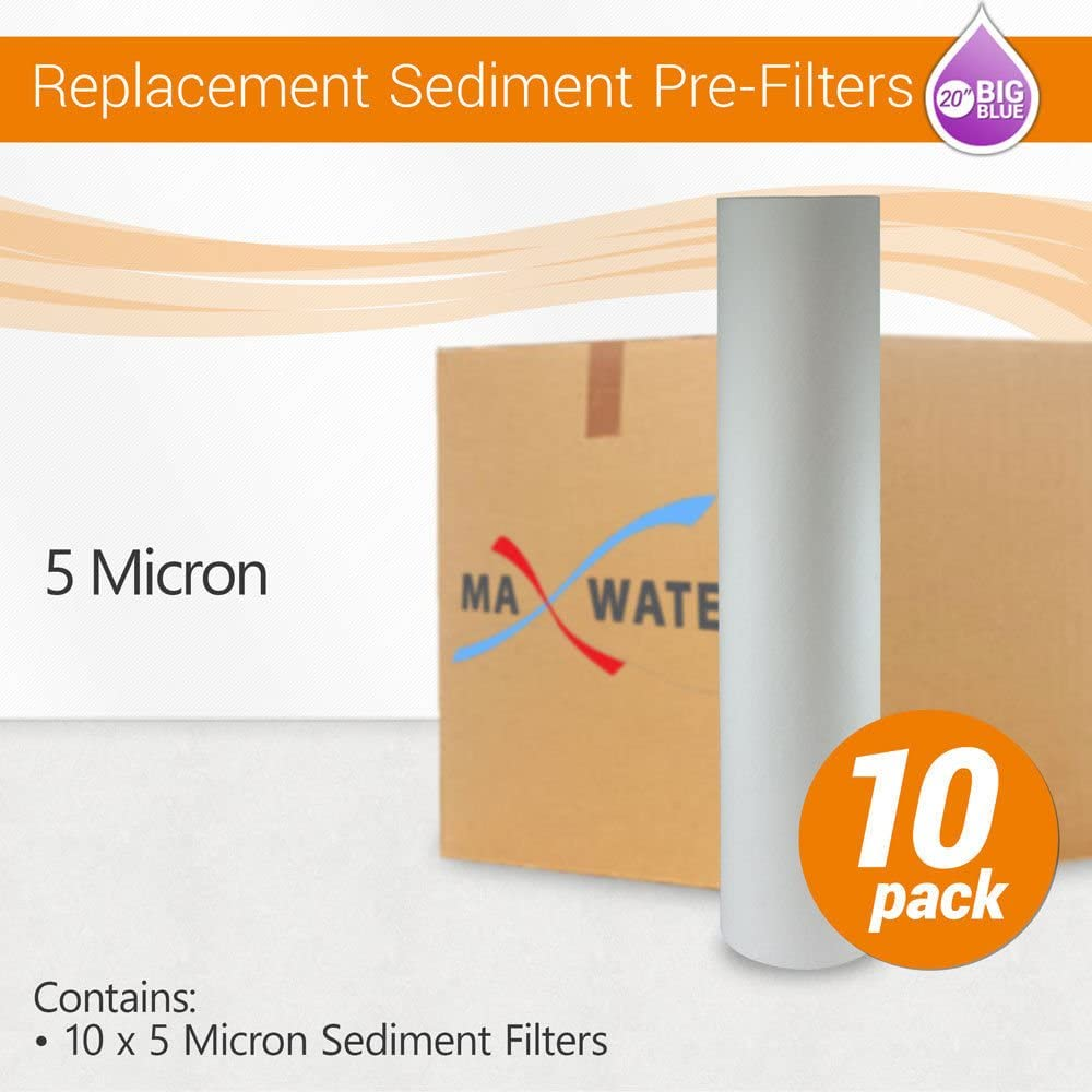 2 Pack 5 Micron 20 Big Blue Sediment Water Filter Replacement Whole House Sediment Filtration
