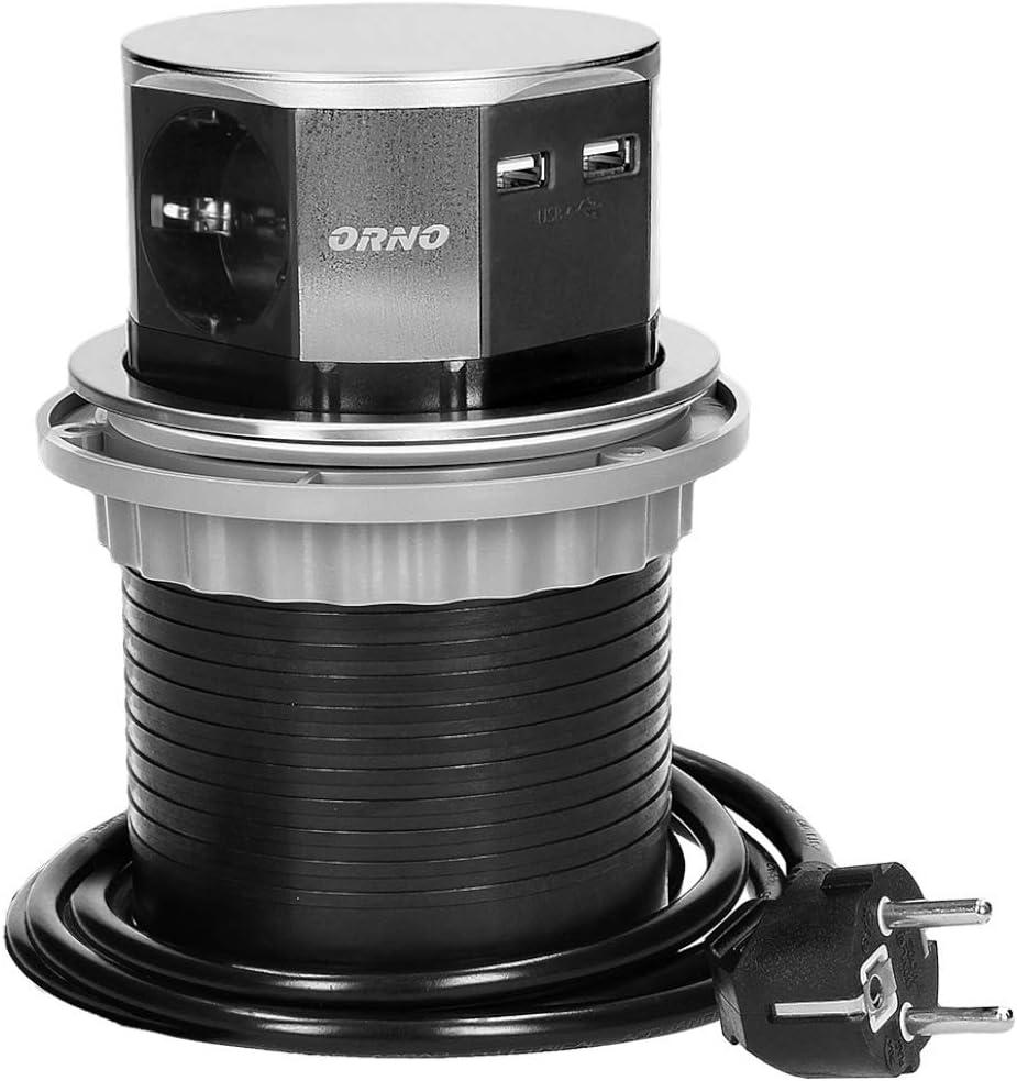 Orno AE-1381(GS) Enchufe Multiple Retractible con 3 Tomas + 2x USB 3650W max Ø 10 cm con Cable Schuko de 1,5 m
