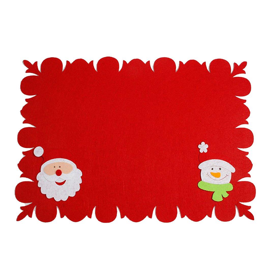 raylans mesa salvamanteles manteles de Navidad para Papá Noel manteles individuales alfombrilla de camino de mesa cena fiesta decoración decoración para ...
